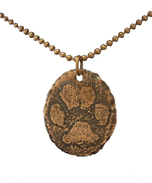 Custom Etched Copper Pet Paw Pedant