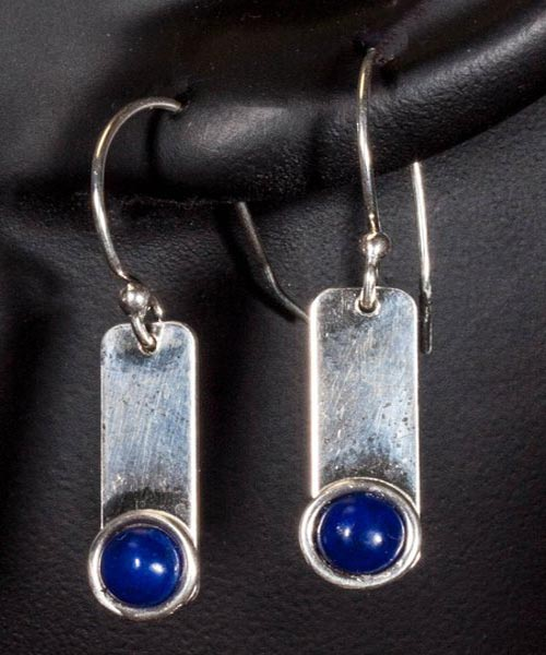 Silver Earrings with 5mm Lapis Cabochons