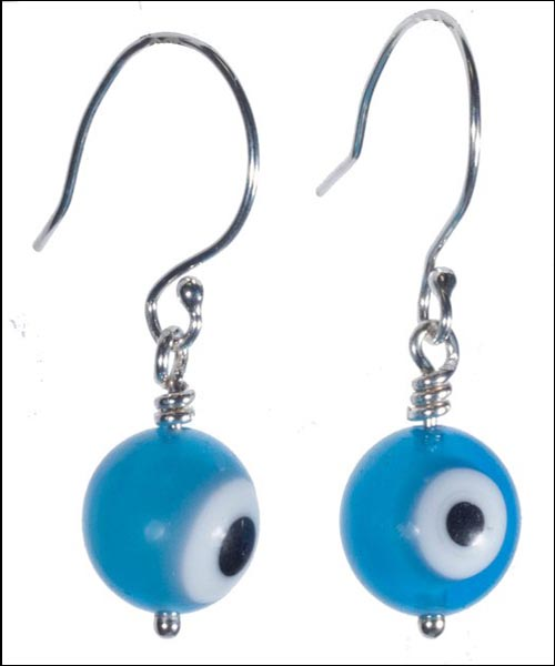 Silver Glass Evil Eye Earrings