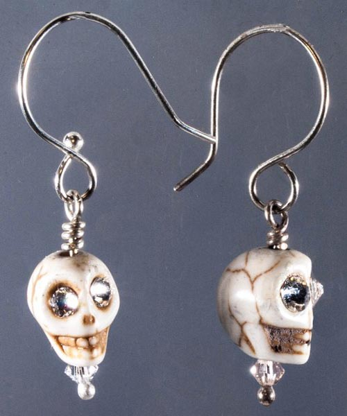 Skull Howlite/Silver Bling Earrings